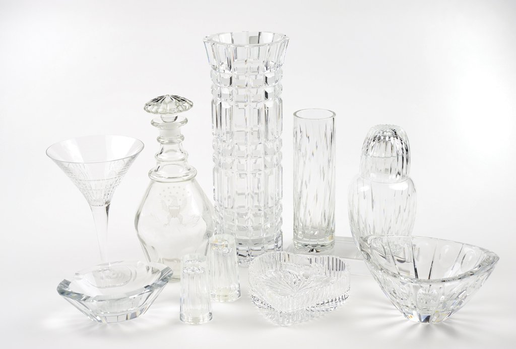 A NINE PIECE GROUP OF LEAD CRYSTAL FOR DRY BARFrom the