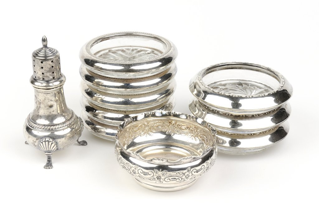 A TEN PIECE GROUPING OF STERLING SILVER AND CRYSTAL