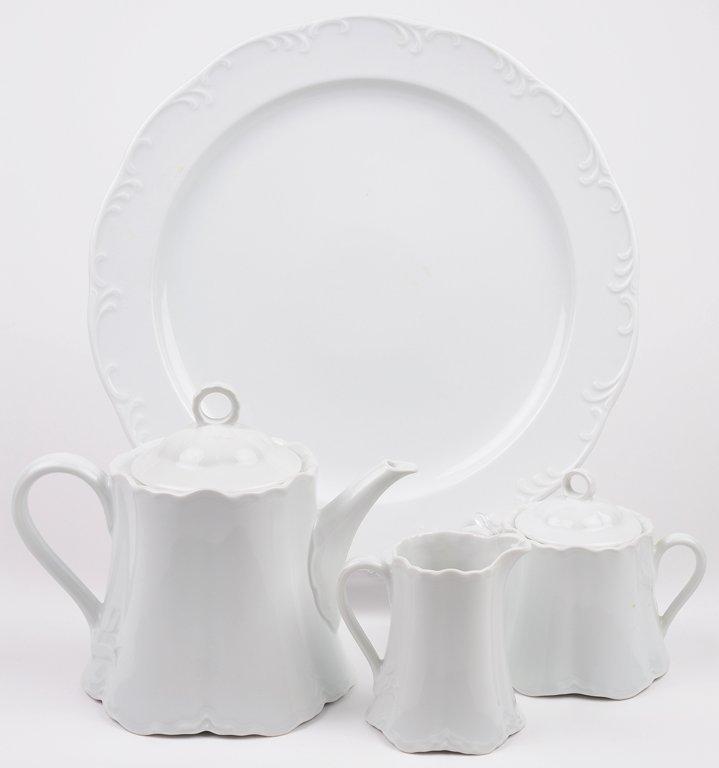 A FOUR-PIECE WHITE PORCELAIN GERMAN HUTSCHENREUTHER TEA