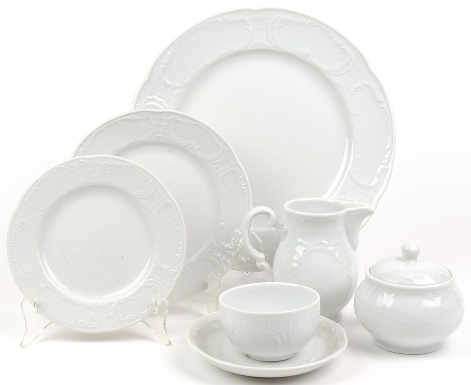 A HUTSCHENREUTHER WHITE BRUNCH SERVICE FOR FOUR WITH