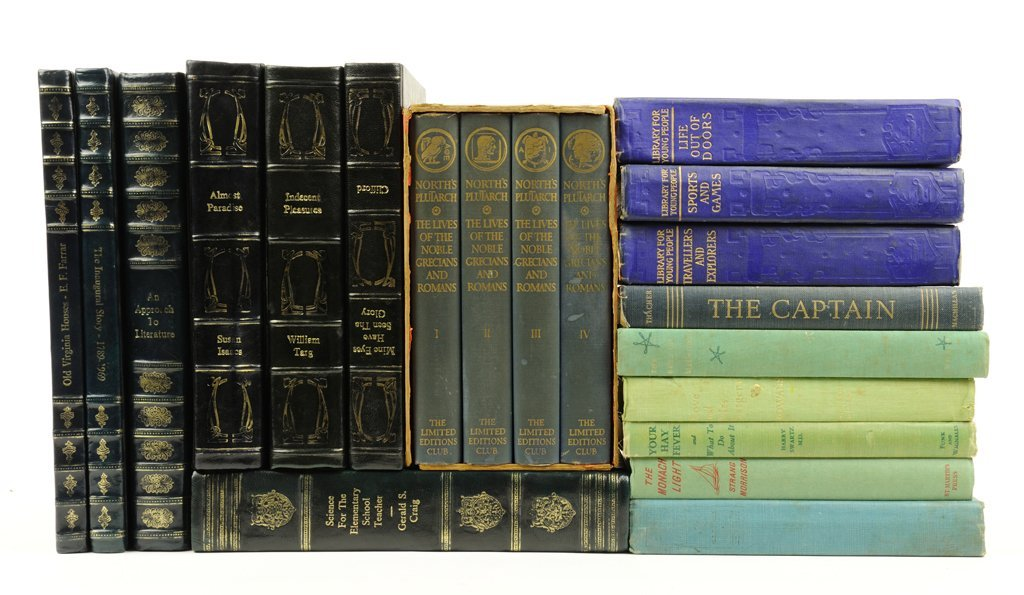 A COLLECTION OF ASSORTED ANTIQUE AND DECORATIVE LIBRARY