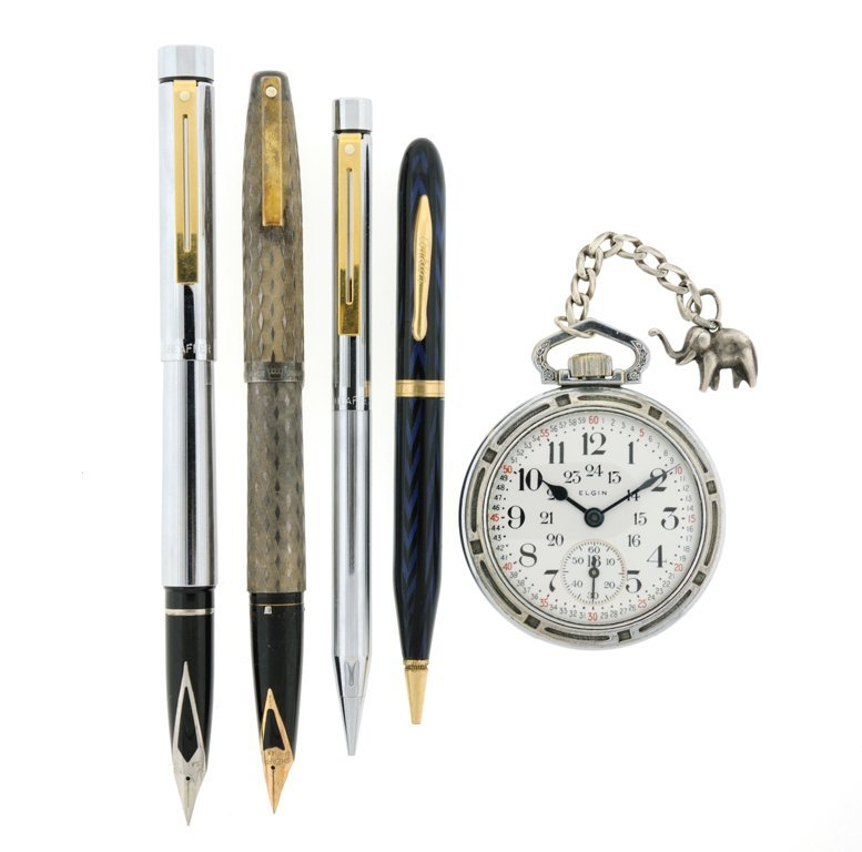 A GROUPING OF ELEGANT WRITING IMPLEMENTS AND AN ELGIN
