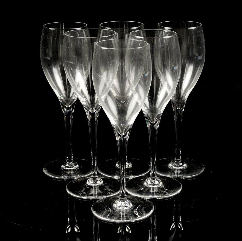 A SET OF SIX BACCARAT WHITE WINE GLASSES
