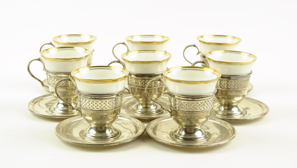 A STERLING SILVER AND PORCELAIN DEMITASSE SERVICE FOR