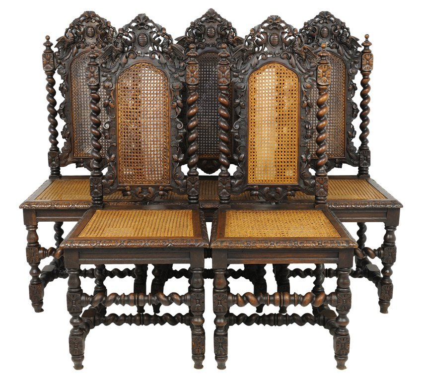 A GROUP OF FIVE VICTORIAN BAROQUE REVIVAL STYLE CHAIRS