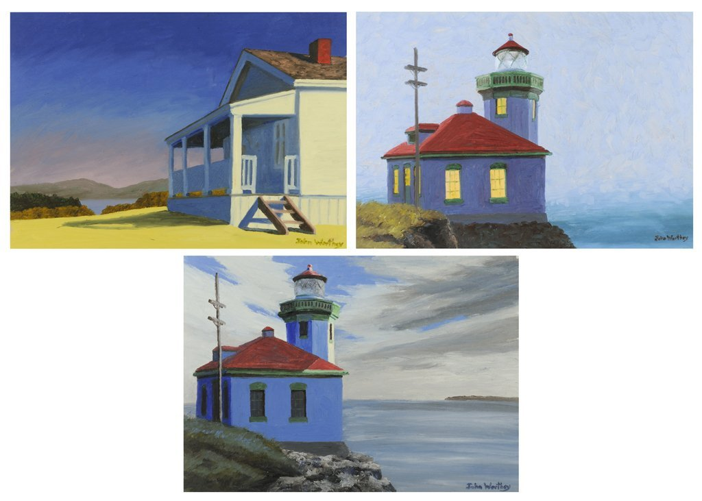 JOHN WORTHEY, (American, born 1956), Three Seascapes,