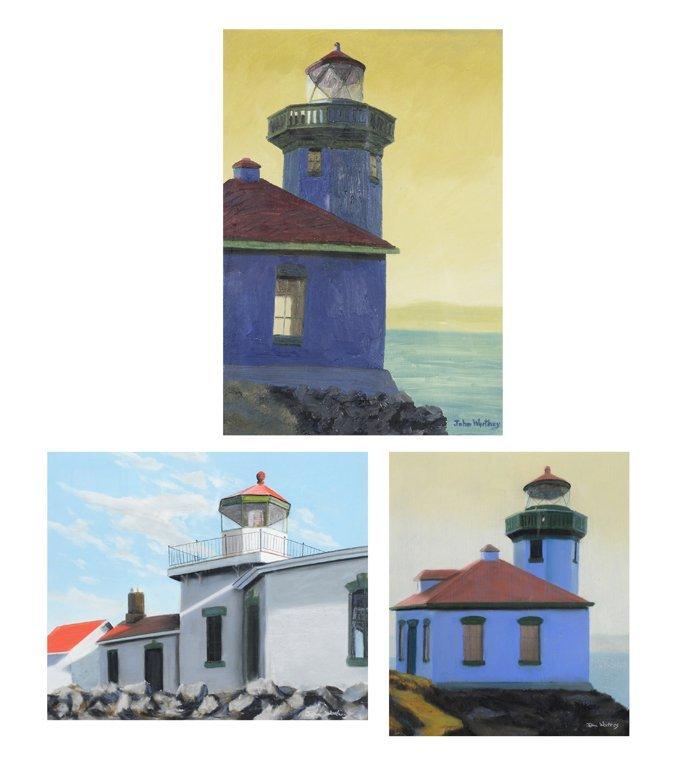JOHN WORTHEY, (American, born 1956), Three Lighthouses,