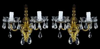 A PAIR OF ROCOCO REVIVAL GILT PAINTED AND CRYSTAL