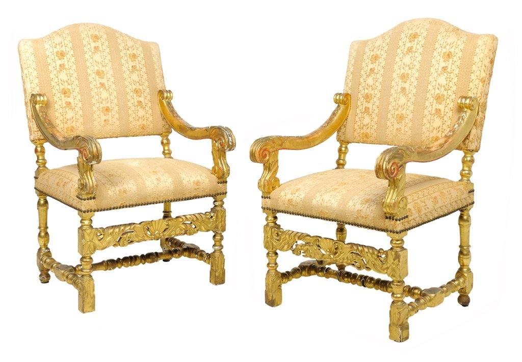 A PAIR OF FRENCH BAROQUE STYLE UPHOLSTERED GILTWOOD