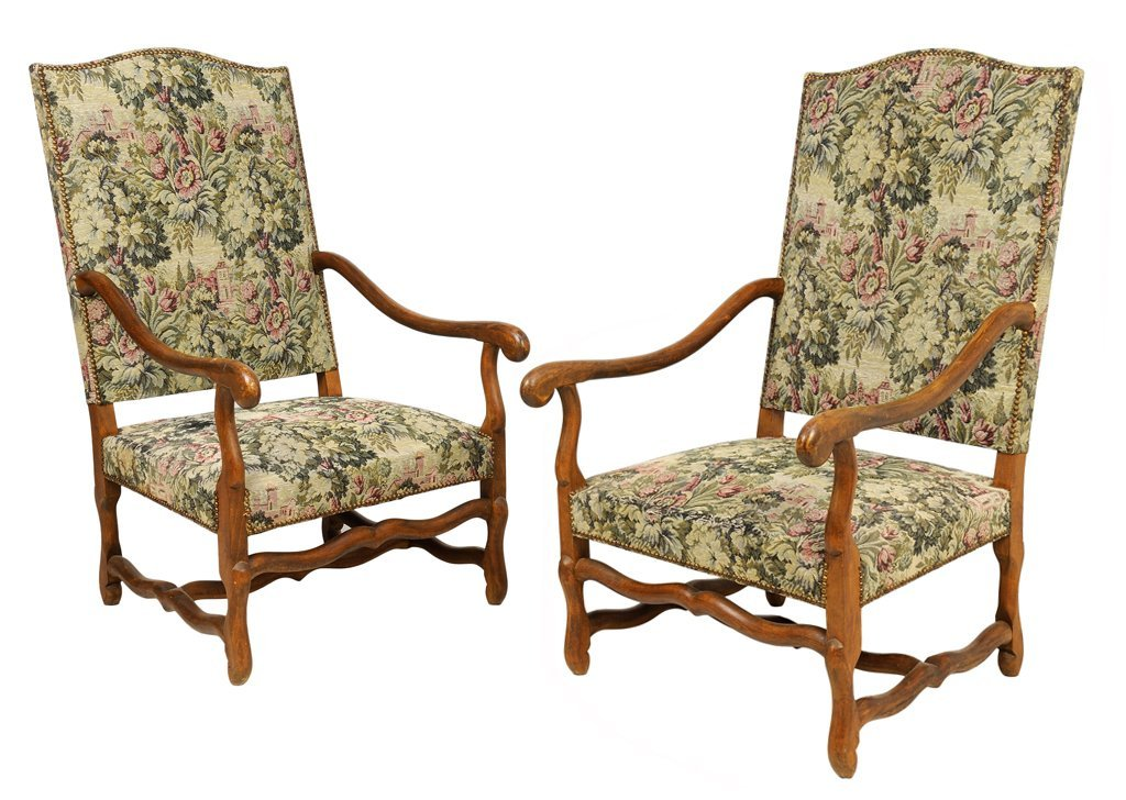 A PAIR OF FRENCH LOUIS XIV STYLE UPHOLSTERED WALNUT