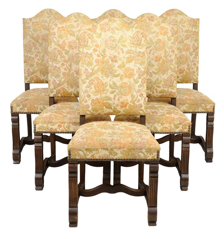 A SET OF SIX FRENCH LOUIS XIV STYLE UPHOLSTERED WALNUT