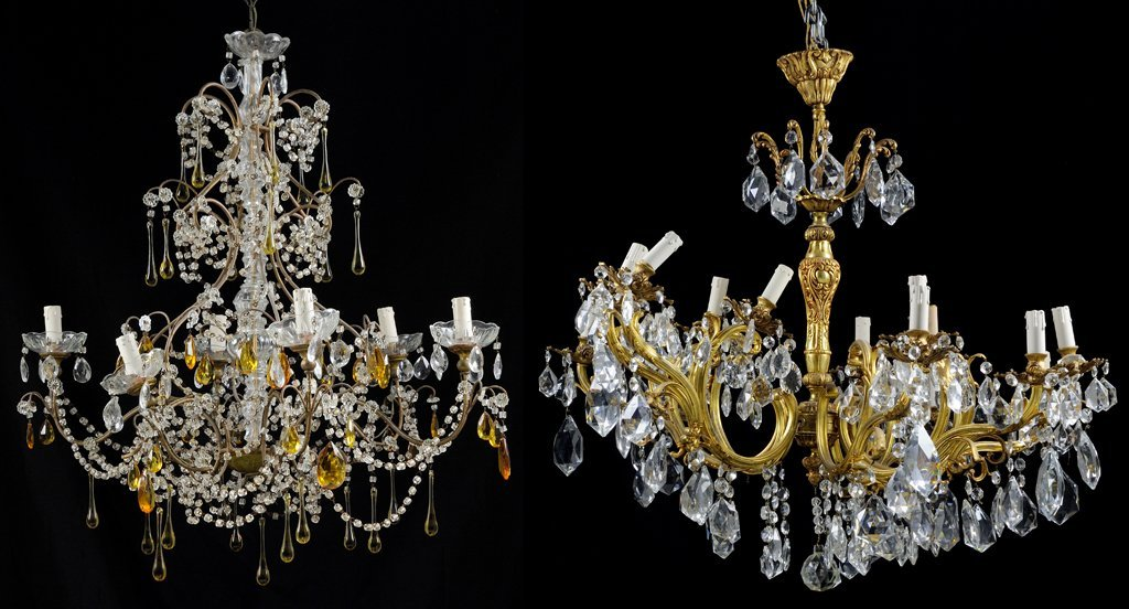 TWO FRENCH CRYSTAL AND GILT OR PATINATED METAL