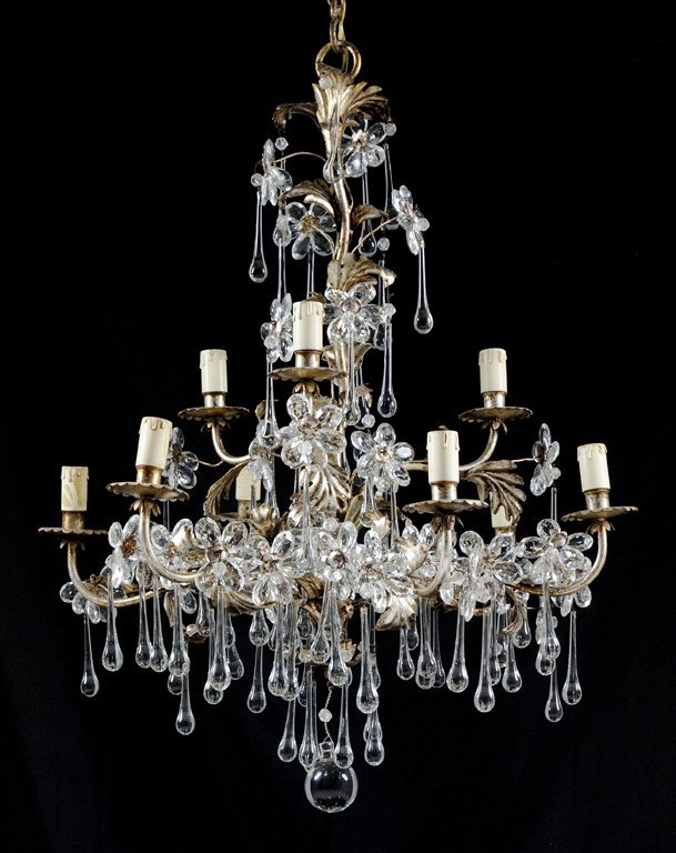 A FRENCH CRYSTAL AND PATINATED METAL TEN-LIGHT