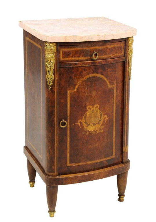 A FRENCH LOUIS XVI STYLE BURLWOOD AND MARQUETRY CABINET