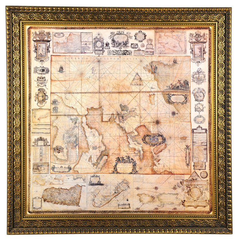 A DECORATIVE FRAMED MAP