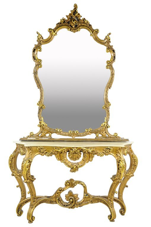 A ROCOCO REVIVAL GILTWOOD CONSOLE TABLE AND MIRROR