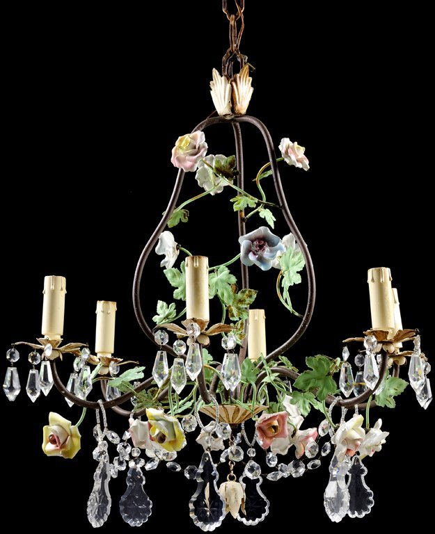 AN ITALIAN TOLE AND PATINATED METAL SIX-LIGHT
