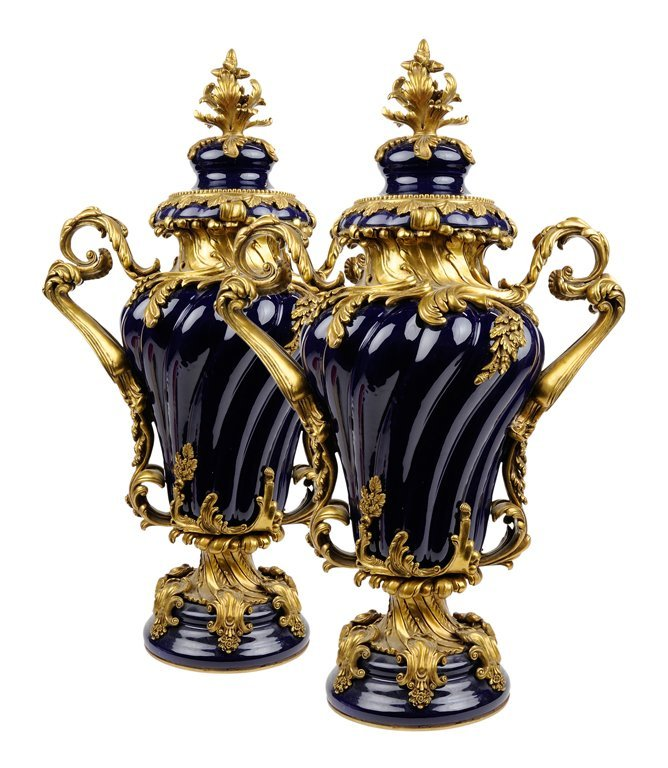 A PAIR OF FRENCH GILT METAL MOUNTED COBALT PORCELAIN