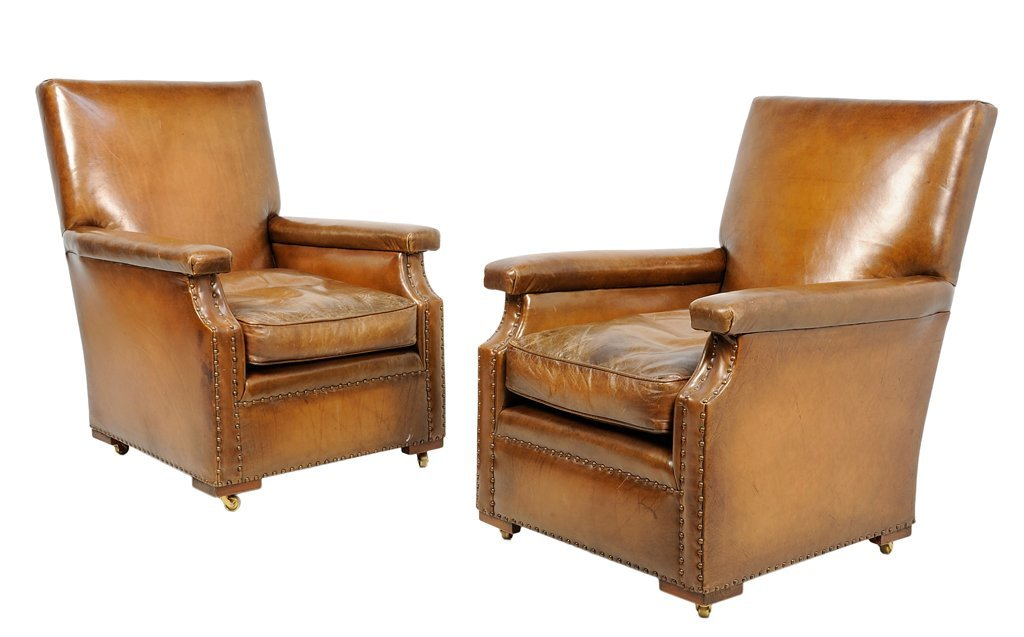 A PAIR OF EDWARDIAN STYLE LEATHER BERGERES
