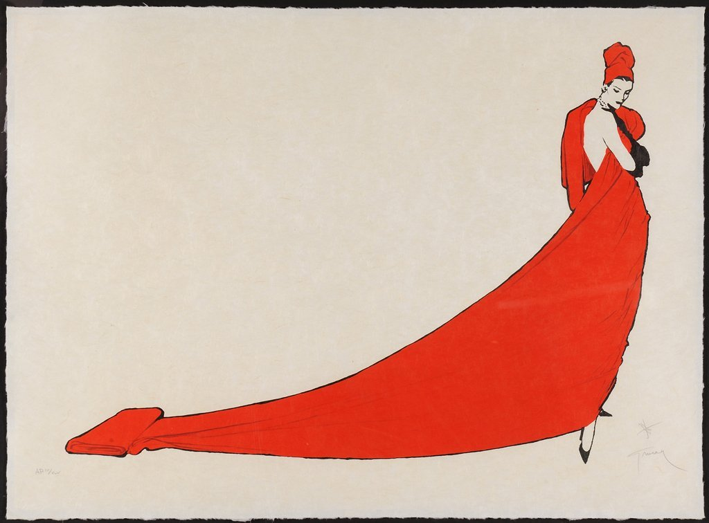 RENE GRUAU, (French, 1909-2004), La Drape Rouge,