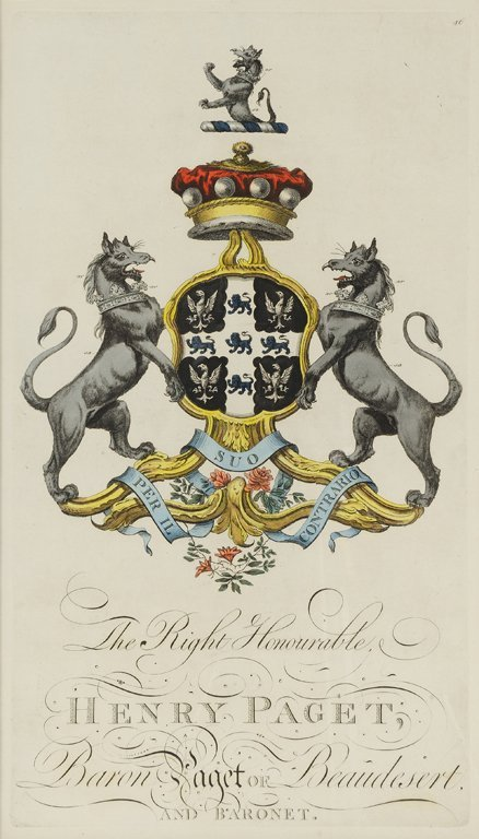 AN ENGLISH HERALDRY HANDCOLORED ENGRAVING FROM