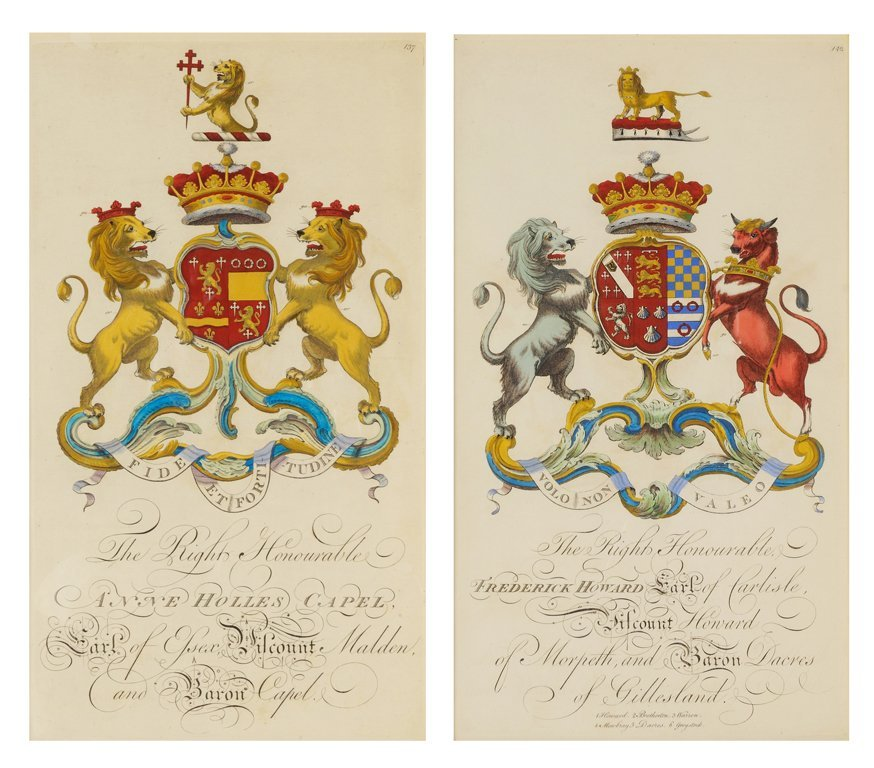 TWO ENGLISH HERALDRY HANDCOLORED ENGRAVINGS FROM