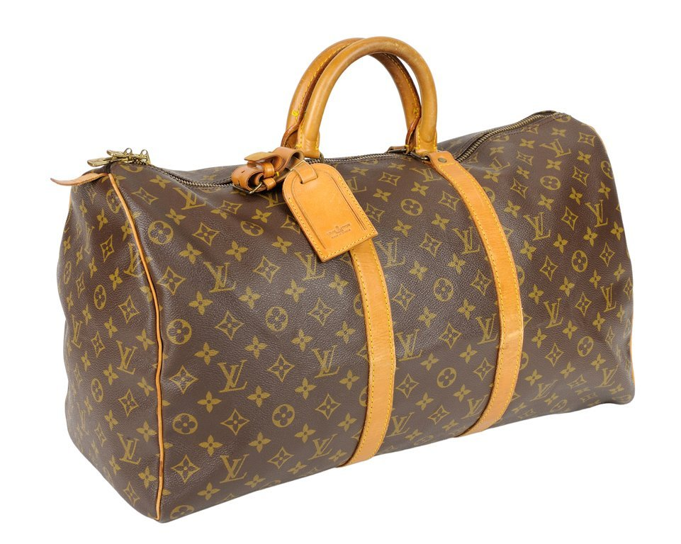 A LOUIS VUITTON MONOGRAM LEATHER 50 KEEPALL