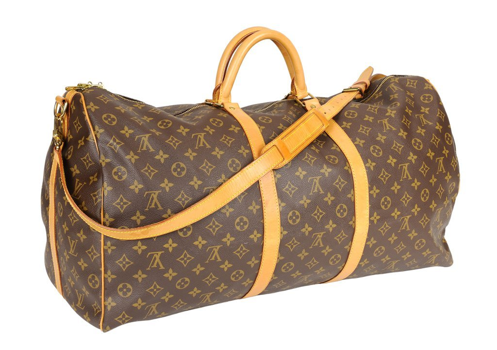 A LOUIS VUITTON MONOGRAM LEATHER 60 KEEPALL