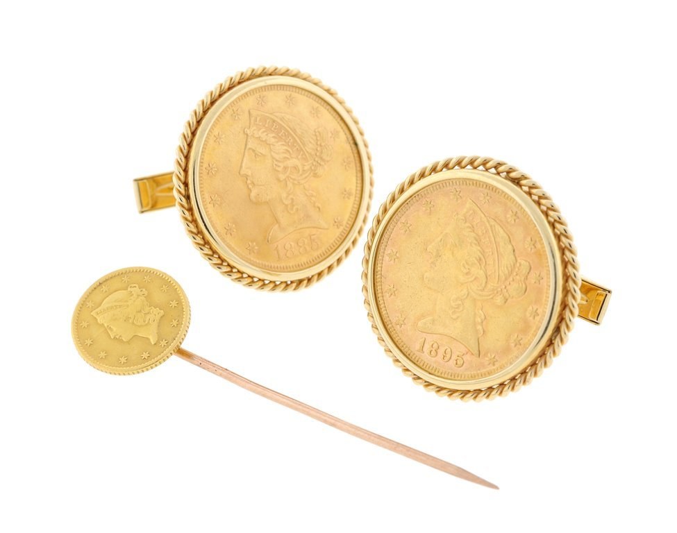 A GOLD COIN CUFFLINK AND TIE PIN SET