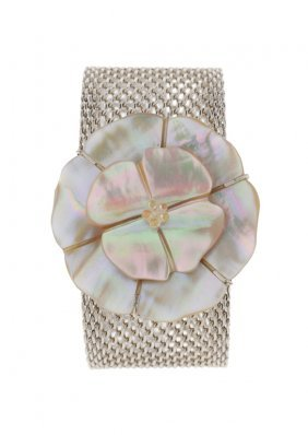 A CHANEL MOTHER-OF-PEARL BRACELET