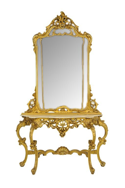 A ROCOCO STYLE GILT CONSOLE TABLE AND MIRROR
