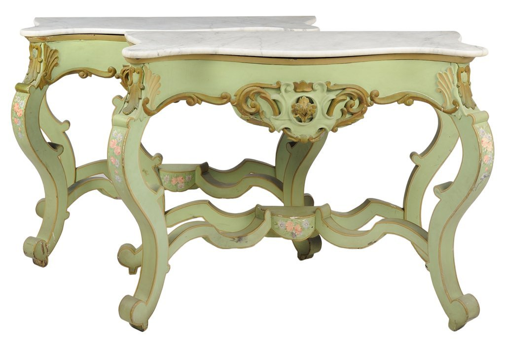 A PAIR OF ITALIAN ROCOCO STYLE PAINTED CONSOLE TABLES