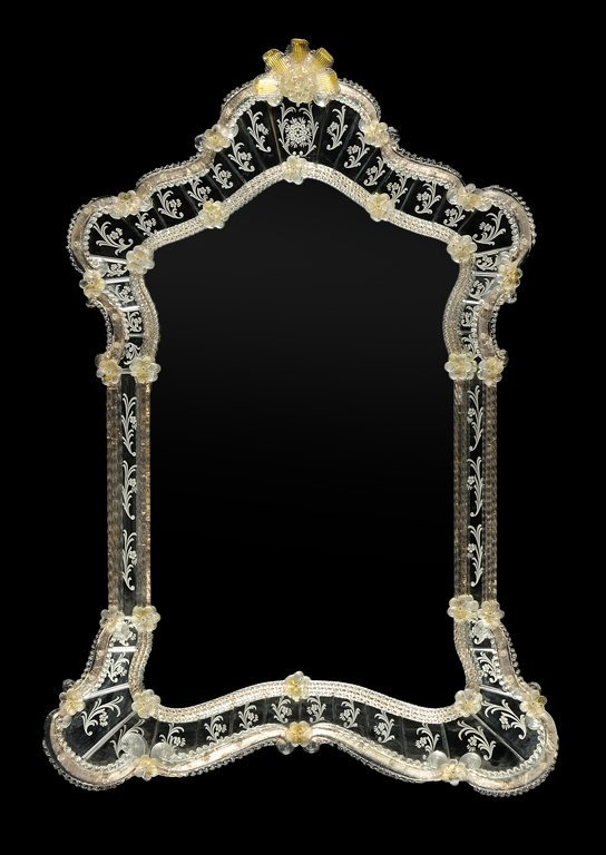 A VENETIAN ROCOCO STYLE ETCHED GLASS MIRROR