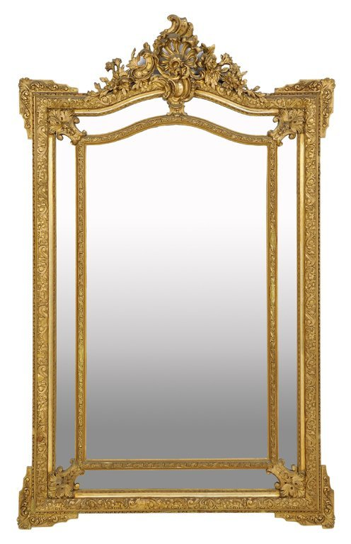 A FRENCH LOUIS XV STYLE GILTWOOD MIRROR