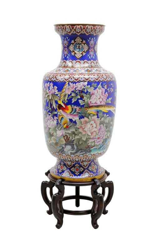 A Chinese Cloisonne Floor Vase With Hardwood Stand