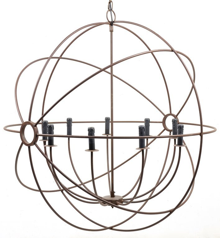 A BRONZED NINE-LIGHT CHANDELIER, IN THE MANNER OF