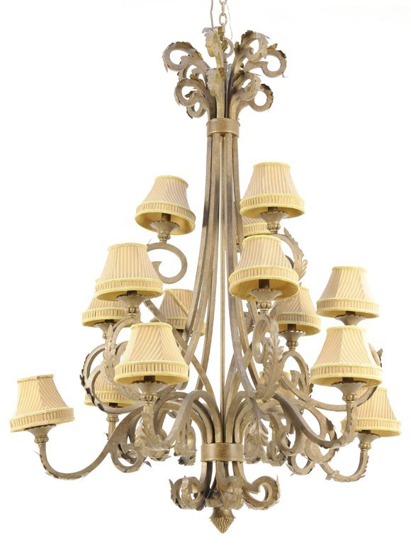 A GOTHIC REVIVAL PATINATED METAL FIFTEEN-LIGHT