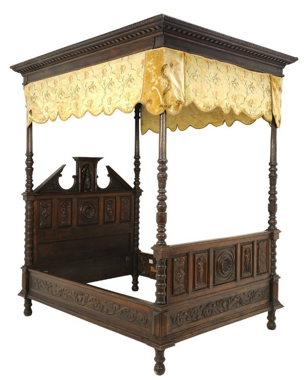 A FRENCH RENAISSANCE REVIVAL OAK TESTER BED