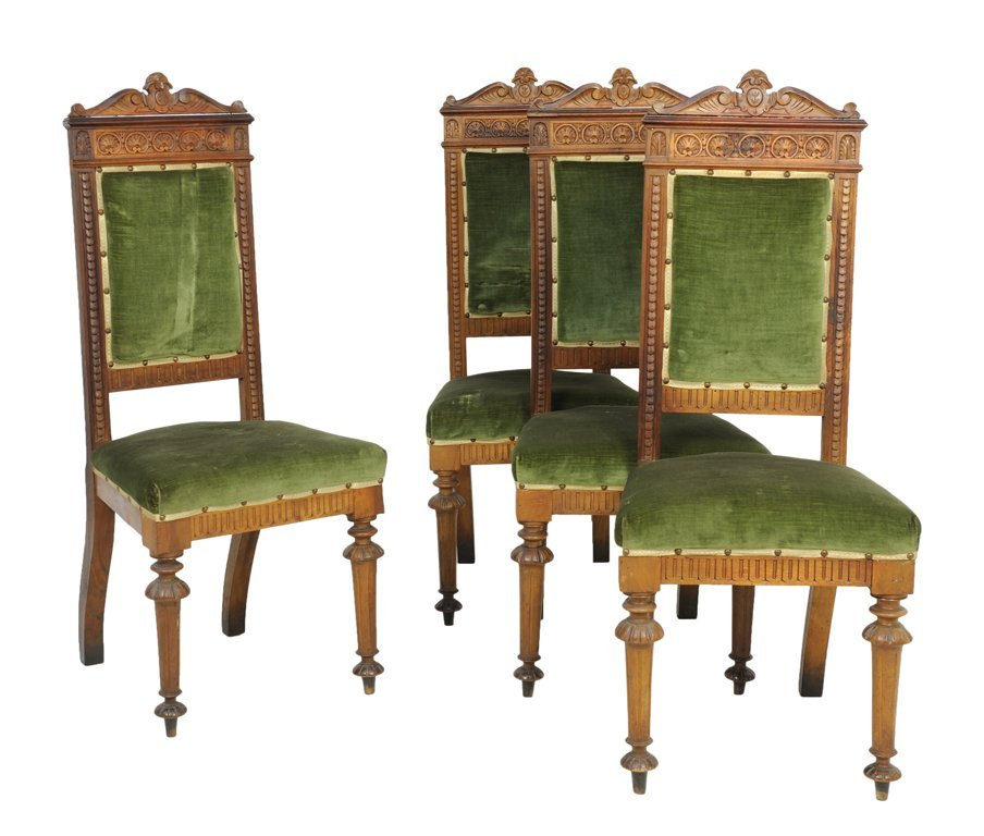A SET OF FOUR RENNAISSANCE REVIVAL SIDE CHAIRS
