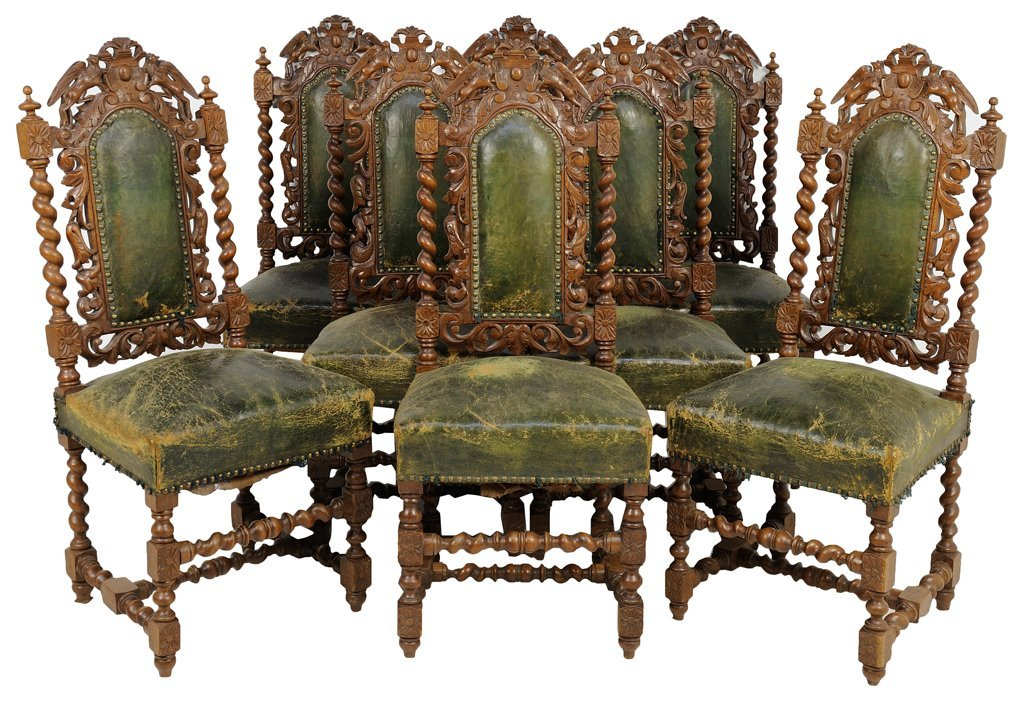A SET OF EIGHT RENAISSANCE REVIVAL SIDE CHAIRS