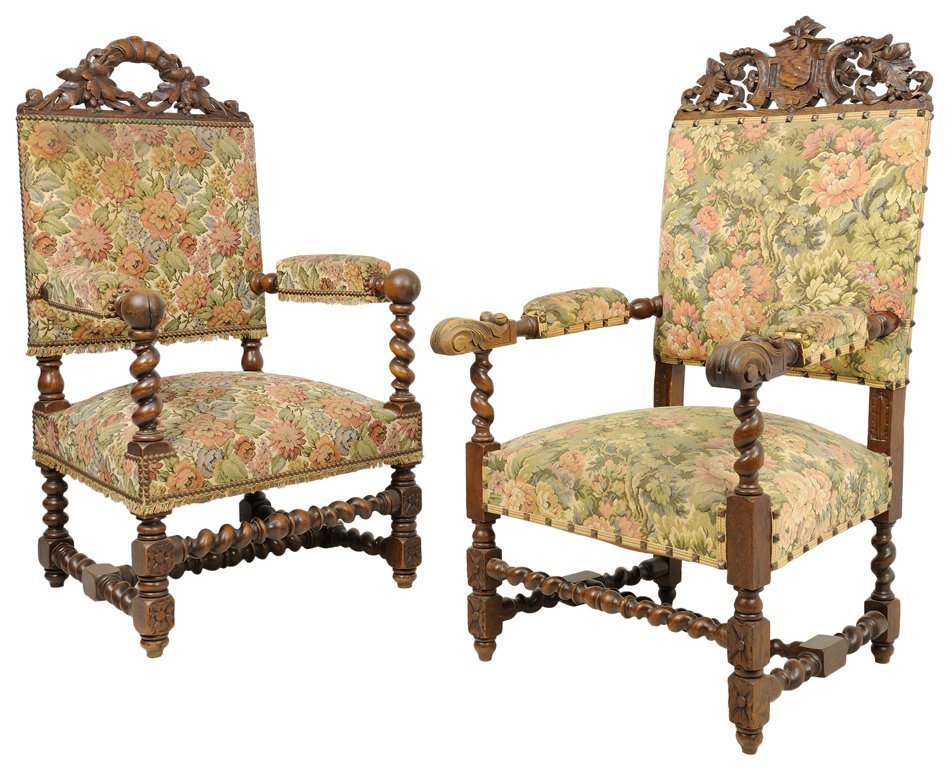 A NEAR PAIR OF RENAISSANCE REVIVAL HALL CHAIRS