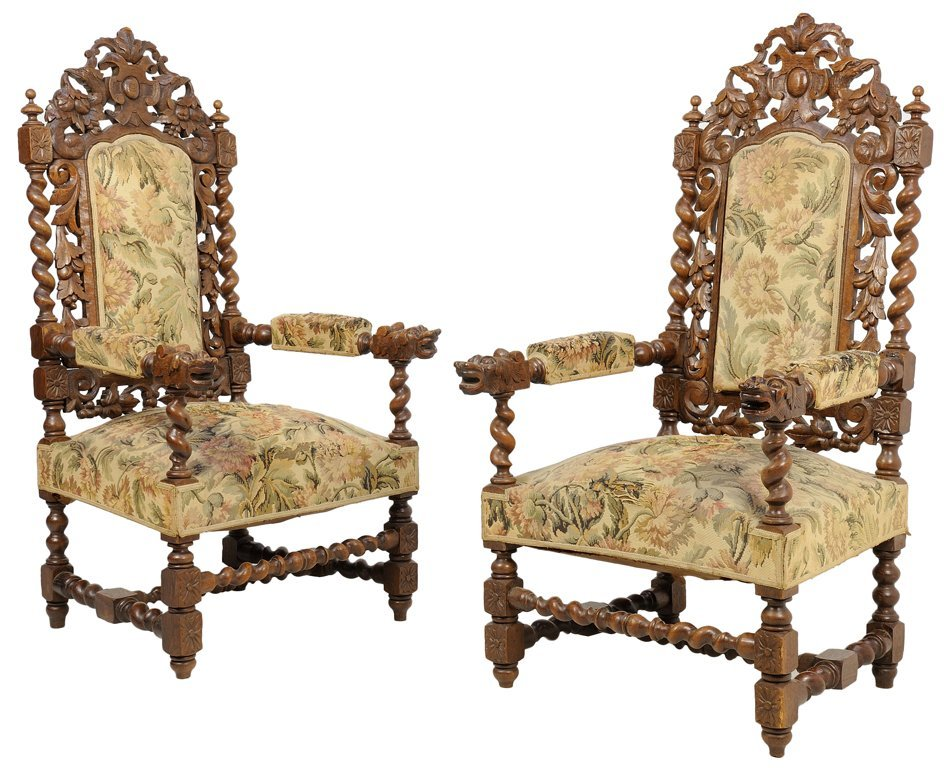 A PAIR OF RENAISSANCE REVIVAL HALL CHAIRS