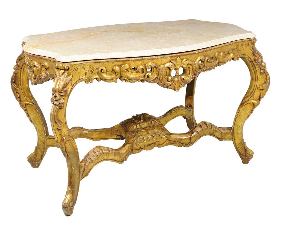 A FRENCH ROCOCO STYLE GILTWOOD CONSOLE TABLE