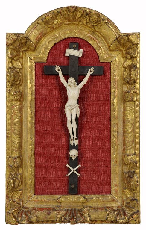 A FRENCH CARVED IVORY AND GILTWOOD CRUCIFIX