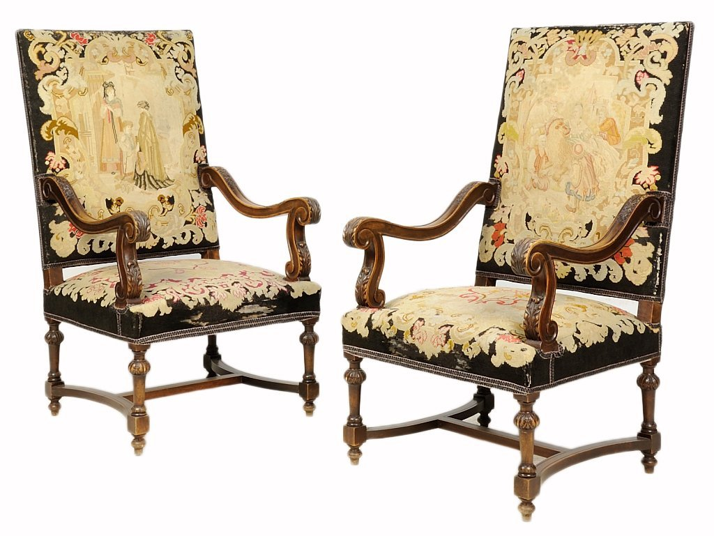 A PAIR OF RENAISSANCE REVIVAL EMBROIDERED WALNUT HALL