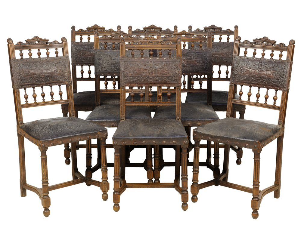 A SET OF EIGHT FRENCH RENAISSANCE REVIVAL FARTHINGALE