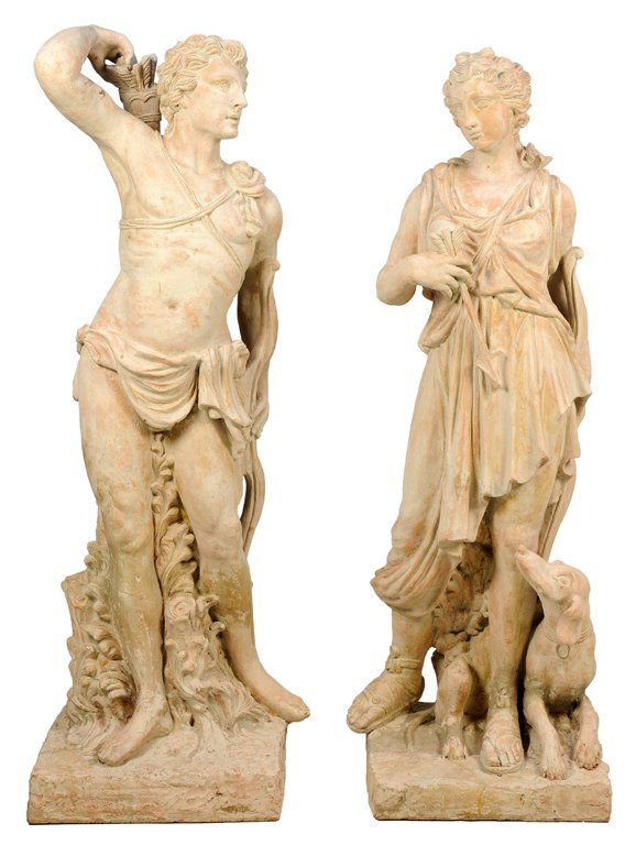 A PAIR OF NEOCLASSICAL STYLE TERRA COTTA FIGURES