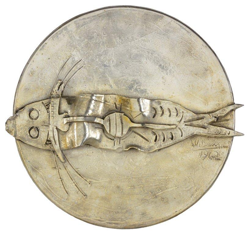 WIFREDO LAM, (Cuban, 1902-1982), Pez, 1962, Silver