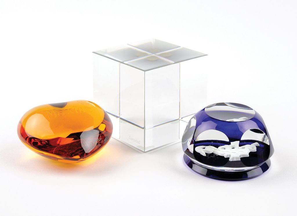 THREE BACCARAT PAPERWEIGHTS AND A FRAMED PHOTO OF