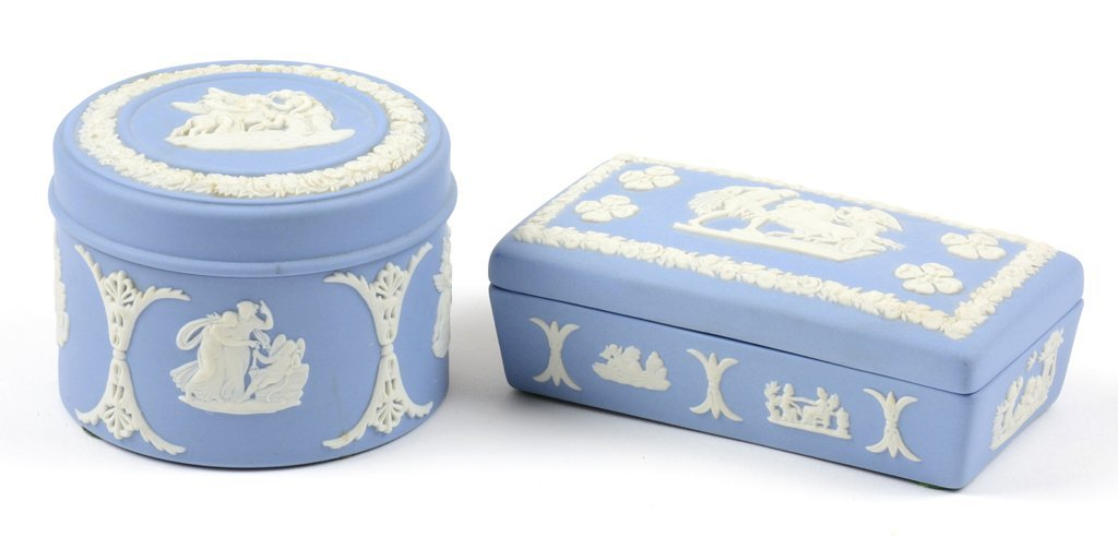 TWO WEDGWOOD BLUE JASPERWARE BOXES